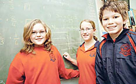 Alstonville Public School maths whizzes (from left) Emily Macdougald, Year 5, Emma Beilken, Year 6, and Chloe Timms.