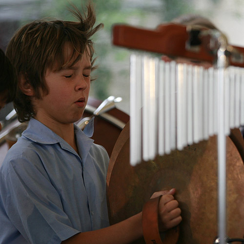 Percussionist Chris Field, 11, feels the rhythm during the Musicfest final. Photo: Barry Leddicoat/177276h
