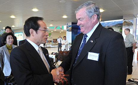 Sasebo Mayor Norio Tomonaga with Coffs Harbour Mayor Keith Rhoades at Coffs Airport.