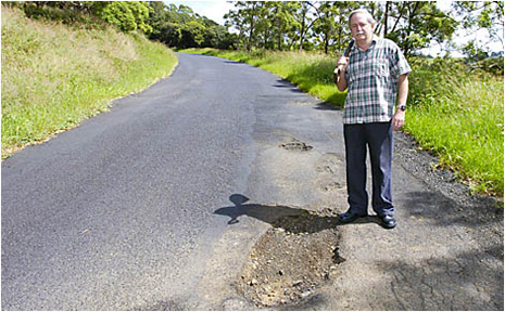 Cr David Tomlinson says Lismore's roads have been neglected in favour of dubious infrastructure projects