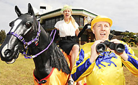 Lismore Turf Club Secretary, Michael Timbrell (front) pictured with Mandy Nolan (back).