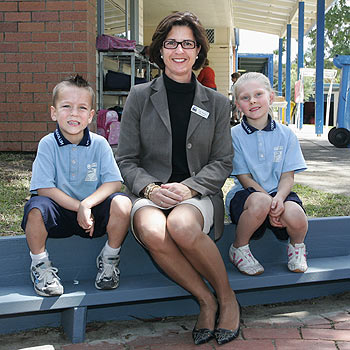 Coolum Primary School prep students Destiny Reid and Seth Conroy show new acting principal Judy Menary around the school. PHOTO: MIKE GARRY/SCW1054A