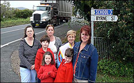 Broadwater residents (from left) Debbie Webster, Annette, Shaun and Georgia McKay, Betty Archer and Jacquie and Charlie Simpson