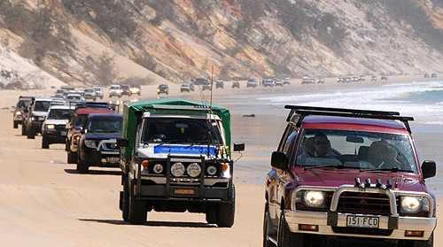 A convoy of 4WD enthusiasts outraged at the government's proposed beach closures and fees drives from Rainbow Beach to Double Island Point and back. Photo: Craig Warhurst/Gympie Times