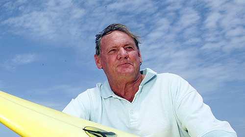 Sunshine Coast surfing pioneer Peter Troy at his home beach, Mudjimba.