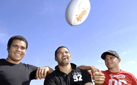 Preparing for the Aboriginal rugby league knockout carnival at Cudgen this weekend are, from left, Tyson Binge and Justin and Alister Bolt.