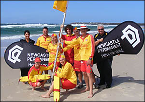 Launching the start of the surf life-saving season are (from left) Newcastle Permanent branch manager Deborah Maddox, Northern