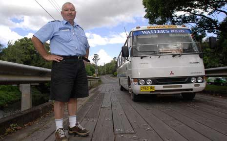 Graeme Waller is nervous about taking his school bus across Cullen Bridge over Mulgum Creek in Nimbin.