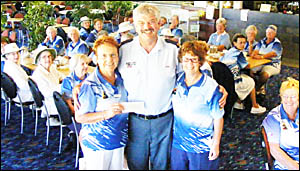 MORE MONEY: President of the Ballina Women's Bowling Club Merle Gollan (left) handed over a cheque for $5002 to Ballina SES Loc