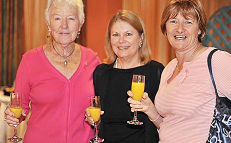 Dympna Keough, Annette Davidison and Dale Rogers enjoy an early morning juice at the Pink Ribbon breakfast in Coffs Harbour.