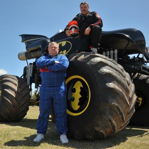 Monster mash: American drivers, Kreg Christiansen and James Tigue II  are on the Coast for the Australia Vs USA monster truck test on Saturday night. Photo: Brett Wortman.