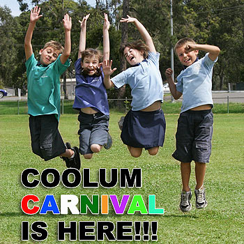 Coolum Primary School's Kian, Tayla, Michelle and Thomas can't wait for the Coolum Carnival. Photo: Mike Garry/scw1144a
