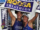 Noosa Triathlon. Winners of the Noosa Triathlon Courtney Atkinson and Emma Snowsill. Photo: Geoff Potter
