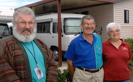Michael Buoy, Joe Schlitter and Elizabeth Griffin enjoy the lifestyle at the RV Resort.