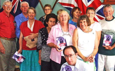 Olwen King (third from right, centre row) at Saturday's book launching for They Passed This Way in Alstonville with several descendants of the Dreadnought Boys.