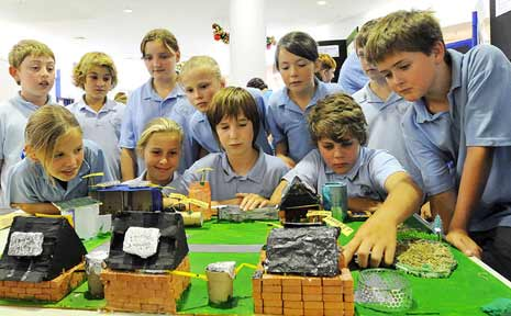 School children view one of the school's entries in the competition.