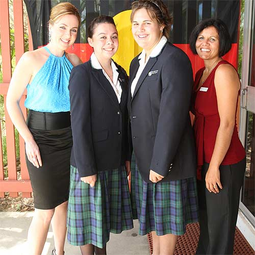 From l-r: Beautiful Minds Marina Passalaris, students Shalisa-Anne Hill and Felicia Daisy and Billie-Jo Graham, Project officer of the girls leadership program. Photo: Nicholas Falconer/179160
