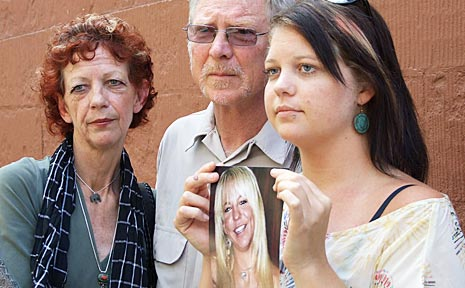The family of Yaicha Thomas – mother Robyn, father Norm and sister Mia – on the steps of the NSW Parliament in Sydney. Yaicha died in a car crash at Tabbimoble in 2006.