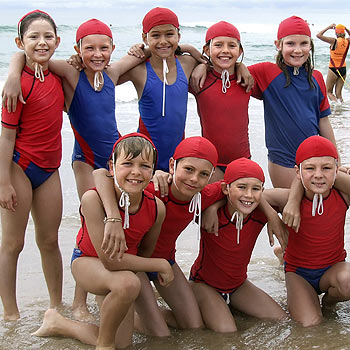 Coolum under-10 nippers, back row, Maddi Coolican, Brigitte Dick, Sabrina Fry, Gabbi Emery, Maxine Holland and, front row, Max Pyne, Mercel Goegel and Josh Dredge.