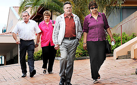 The parents of Bryce Wells, Rob and Jacky (front), and of Corey New, Mark and Ann, outside Lismore Court House.
