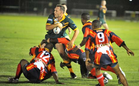 Nick Paterson in action at the Police Rugby League World Cup.
