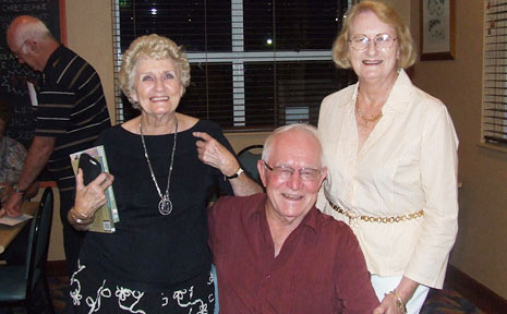 Betty Hancock (left) and Elma Hancock with author Jim Brigginshaw at the launch of his new book Over My Dead Body.