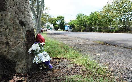 A memorial for a pedestrian killed in Dawson Street, Lismore.