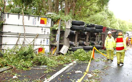 LUCKY: The driver of this B-double truck survived a crash near Bangalow early yesterday.