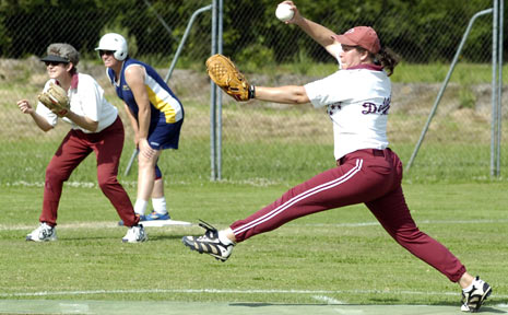 IN FULL STRIDE: A file photo of the Dodgers' Sonia Pope on the mound in a Far North Coast Softball womens game.
