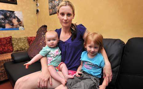 Distressed ... Mum Tracey Tyler with children Sakura and La-ika