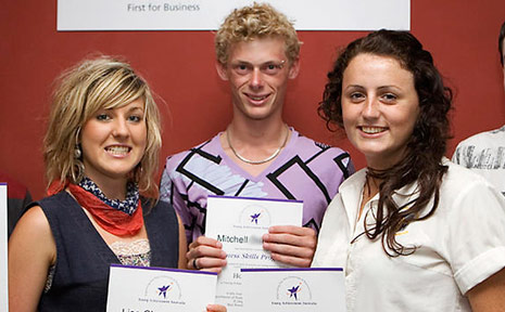Jess McCullen (not pictured), Lisa Cheeseman, Mitchell Turner, Keira Blaney and Mitchell Burland (not pictured) recently took part in the Business Skills Program.