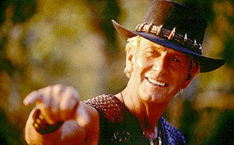 Paul Hogan in the blockbuster hit Crocodile Dundee.