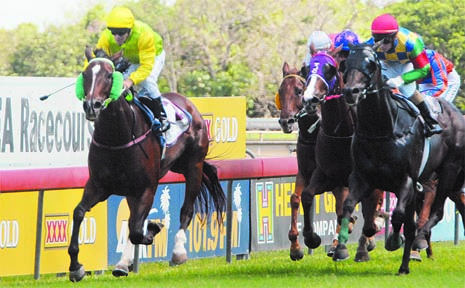 EXPECTING, with Craig Beets on board, races away to win the 1050m Daily Mercury Handicap at Ooralea yesterday.
