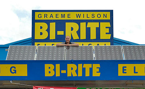 Graeme Wilson at Bi-Rite Electrical with his new solar system.