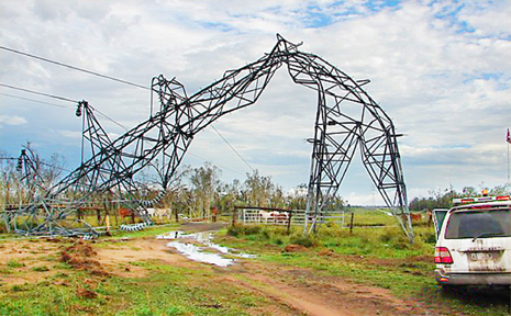 THESE are just two of the high-voltage electricity transmission line towers north of Dysart damaged during Monday's violent storm.