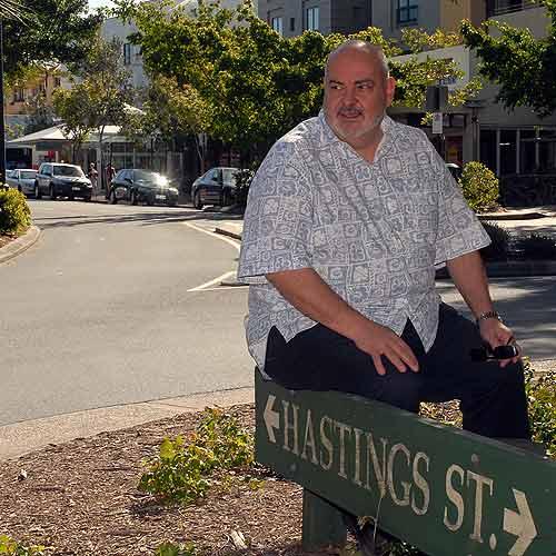 Jim Berardo in Hastings Street. Photo: Geoff Potter / n15395.