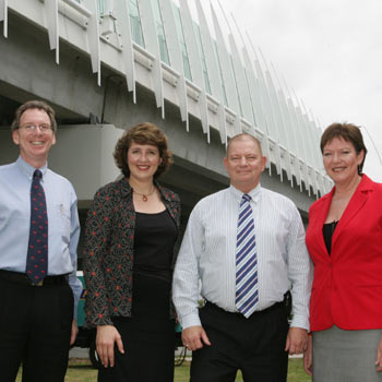 Main Roads director-general Alan Tesch, member for Maroochydore Fiona Simpson, minister Warren Pitt, and councillor Debbie Blumel at the official opening of the Sunshine Motorway last week. Photo: Mike Garry/179772