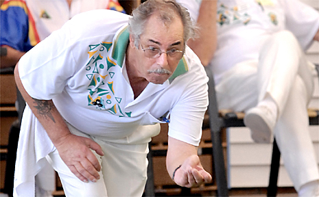 PHIL Lewis sends down a bowl for his North Mackay side during a recent interclub game.
