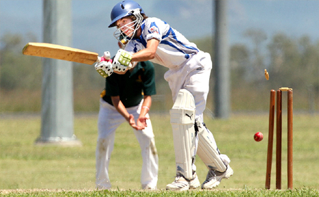 Mackay Whitsunday under 15 opening batsman Lochie Whitehead is bowled during a match against South East Queensland at Ispwich.