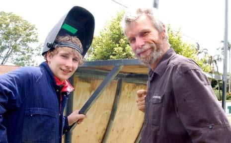 Scott Levett and Martin Hogan inspect the half pipe.