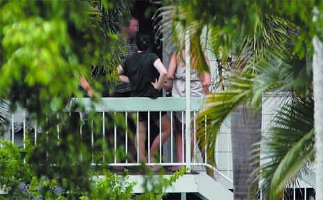 The scene yesterday at the Glenella home where a party spiralled out of control on New Year's Eve. Police had to deal with 400 party-goers, some smashing bottles and brandishing fence palings.