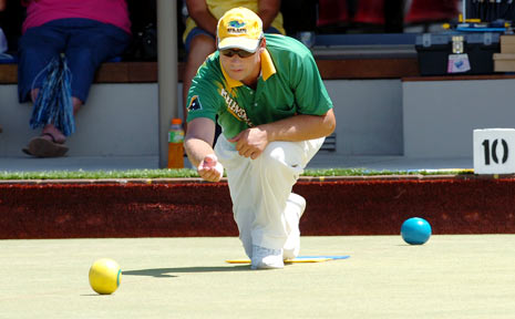 Brett Wilkie (Helensvale) is all balance during the final of the $11,000 Summerland Singles at the Ballina Bowling Club yesterday.