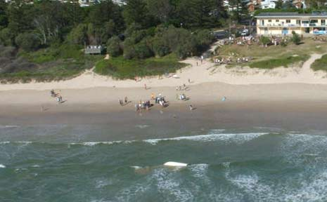 Two men come ashore at Evans Head yesterday morning after their boat capsized while crossing the Evans River bar. The men were trapped under the capsized boat for a short time.