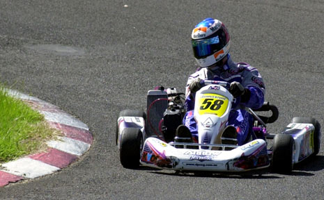 BIGGER, FASTER: A file picture of Richard Mules in action while competing in kart racing. Mules has since progressed to speedway and will be out for an upset in the Speedcar Super Series round at Lismore Speedway tonight.