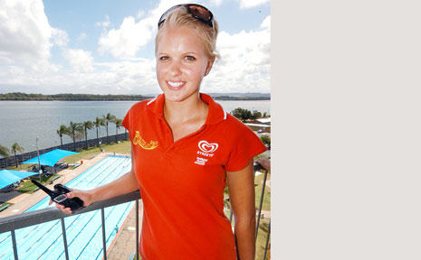 WATCHFUL EYE: Andrea Dziwenko gets a birds-eye view at the Ballina Waterslide.