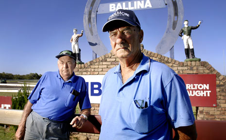 Iris's former husband, and local trainer, Gary Nielsen, right, and Ballina trainer Kevin Nipperess at the Ballina Jockey Club where an all-female race will be run to honour Iris's career as a rider.