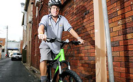 Keen cyclist Tony Keogh from Bentley about to brave the Lismore CBD on two wheels.