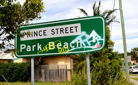 Graffiti and vanalism are turning tourists off Park Beach.
