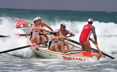 The winning Woolgoolga Surf Life Saving Club surf boat team.