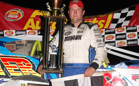 SPOILS OF VICTORY: Jimmy Phelps after a win in the United States last year.